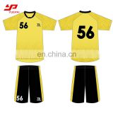 Pro team short sleeve quick dry comfortable custom sublimation black yellow soccer jersey