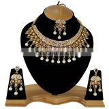Dark Red Gold Plated Indian Handmade Ethnic Party wear Kundan Zerconic Necklace set Color