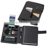new portable PU planner notebook set with iphone container and cards/pen holder NOTEBO908-2 and mini calculator