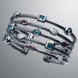 925 Sterling Silver DY Inspired Five Row Blue Topaz Confetti Cable Cuff Bracelet