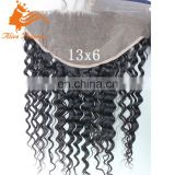 "ear to ear brazilian human hair lace frontal closure with baby hair 13X6"" Top Grade 7A Deep Wave hair closure natural color"
