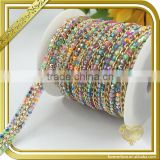 Wholesale rainbow rhinestone chain belt hotfix resin beads trims for shoes bags FHRS-037