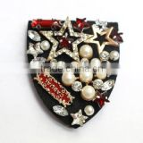 W0527 factory wholesale newest design handmade beaded epaulet with rhinestone for uniform military garment