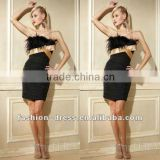 Slim Black With Golden Belt Sexy Black Feather Cocktail Dress