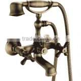 Antique Royal Style Wall Mounted Triple Handles Bathroom Telephone Shower Sets