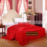 Super soft fleece fabric red rose flower printed cheap 350g extra thick coral fleece blanket