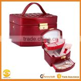 high quality jewelry display case, custom leather display case for jewelry,red shiny leather jewelry case with mirror