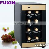 FUXIN:JC-23CFW .Table Top Fridge with 8Bottles / Mini wine chiller with Touch panel temp control /glass door fridge.