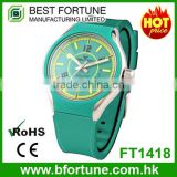 FT1418_GR Women charming green rubber strap special dial quartz movement analog wristwatch