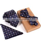 3PCS Men Slim Necktie Cravate Bow Tie Handkerchief and Bowtie Set