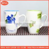 custom shape mug stoneware OEM service decal flower printed new design customized made eco-friendly ceramic printed ceramic mug