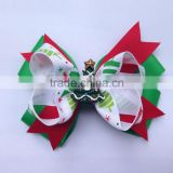 Hot Ribbon Christmas Hair Bows with Clips for Baby and Girl Hair Boutique Christmas Bow CB-3393