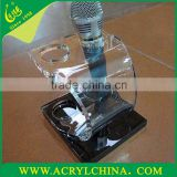 manufaturer direct sell acrylic microphone holder with engraving, transparent PMMA microphone rack with hot-bend forming