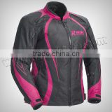 Men Motorbike Black & PInk Beautiful Cordura Jacket Made of 100% Polyester 600D, Inside waterproof & Breathable fabric