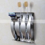 Stainless steel wall toothbrush holder 3 position Self-adhesive tooth brush Organizer box bathroom accessories