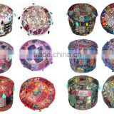 Bohemian Patch Work Pouf Ottoman Round Patchwork Embroidered Multi Ottoman Pouf Indian Decorative Ottoman Covers