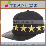 Fashion style hip hop hats embroidered with golden stars and with leather brim