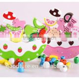 Wooden Crescent Balance Fruit And Cake Stringing Beads Game