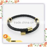 China supplier european style womens and mens adjustable black gold twisted cable wire steel bracelet bangle