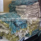 Fashion 100%Acrylic Chunky Melange Knit Woven Throw