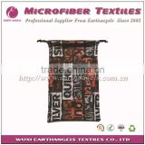 sublimation printed microfiber drawstring bag for goggles, microfiber soft pouch
