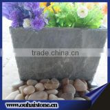 Eco-friendly creative natural black stone material slate flower pot
