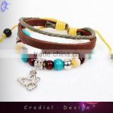 2013 Cheap Wholesale Fashion Friendship Bracelets Handcraft Leather Bracelet With Feather Pendant For Young People