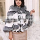 New Design Ladies Rex Rabbit Fur Jacket With Bat Sleeve / Fur Coat                                                                         Quality Choice