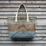 Custom waxed canvas tote bag with leather strap