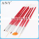 ANY Nail Artist Using Nail Art Beauty Design Wood Handle Functional Nail Brush Sets