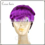 100% Virgin Brazilian hair lace front wig mixed color curly bang short hair wig attractive design PRB/Purple#