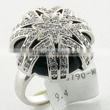 925 Silver Women black agate Ring