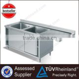 Single/Double Kitchen Square Stainless Steel Sink With Backsplash