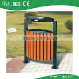 Guangzhou wholesale wood steel composites outdoor dustbin with ashtray