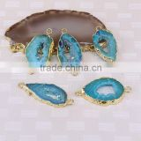 Titanium AB Blue Agate Slice Beads, Gold plated Agate Geode Gem stone Connector Druzy Beads For Jewelry Making