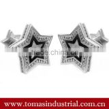 Hot selling fashion silver Star cufflinks Stainless Steel star shape Personalized Custom metal Cufflinks and tie clips