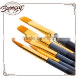 Promotional high quality wooden handle art brush, 6 pcs kids art brush set, chinese art brushes for acrylic and oil painting