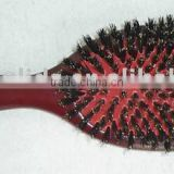 Wooden handle hair brush with rubber pad/boar bristles