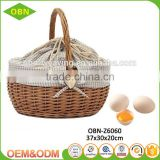 China wholesale customized handmade 100% natural antique wicker egg basket with fabric cover