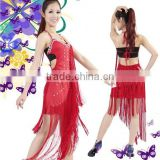 High quality women sexy Latin dance costumes,backless tassel Latin dance dresses for competition