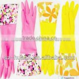 bicolor long household latex/rubber gloves long sleeve latex gloves