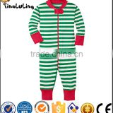 top new arrival infant baby christmas rompers kids footed bodysuits green and white stripes rompers
