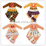 LM-004 New designs Cheap Halloween outfits with pumpkin pattern for baby wholesale childrens fall boutique clothing girls