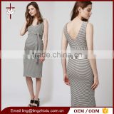 Wholesale Sleeveless Black White Stripe V-neck Knee Length Maternity Dress Patterns With Sleeves