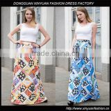Wholesale Women Boho Printed Floral Pleated Skirt Ladies Beach Wear High Waist Flare Skirts