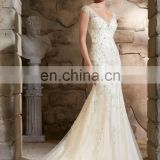 Gorgeous backless wedding gown with crystal work for women