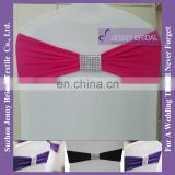 SH047B fushia polyester spandex fabric bow for chair bands with rhinestone buckle