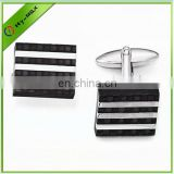 Checkered Carbon Fiber/Stainless Steel Square Cuff Links
