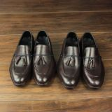 Mens handmade goodyear slip on shoes full genuine leather made loafers