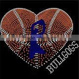 Heart Basketball Iron On Rhinestone Transfers Wholesale Bling T Shirts Motifs